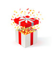 white gift box with red cover and gold confetti vector image