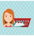 woman cartoon laundry basket vector image