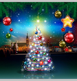 Christmas greeting with panorama of city and vector image