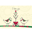 Card with birds and love Tree vector image