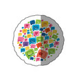 sticker circular shape colorful pattern formed by vector image
