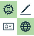 job icons set collection of earth identification vector image