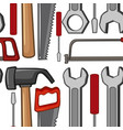 seamless background with handtools vector image vector image