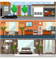 set of house interior posters banners in vector image