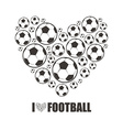 Heart from the footballs I love Football vector image