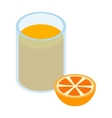 Glass of orange juice 3d isometric icon vector image