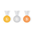 set of gold silver and bronze medals collection vector image
