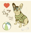 Love my dog of a hipster french vector image
