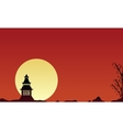 Silhouette of pavilion scenery collection vector image