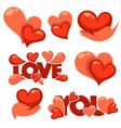 collection of heart hands and love logo concept vector image vector image