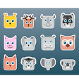 Animals smile stickers vector image