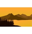 Silhouette of mountain at sunset vector image