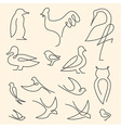 One line birds art logo set vector image