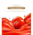 background with splashes waves of red tomato vector image