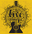 banner live music with acoustic guitar vector image vector image