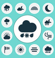 nature icons set collection of moon lightning vector image