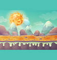 planet landscape with mountains and star in sky vector image