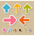Colorful Paper Arrows on Brown Background vector image vector image