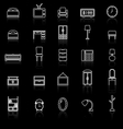 Bedroom line icons with reflect on black vector image