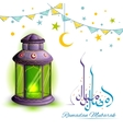 Ramadan Mubarak greeting with illuminated lamp vector image