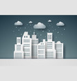 cityscape with rain paper art style vector image