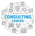 consulting center linear vector image