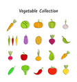 flat design vegetable icon set with black contour vector image