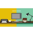 graphic design profession workdesk monitor printer vector image