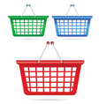 shopping basket in three color vector image