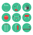 sport equipment flat icons isolated gym training vector image