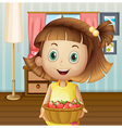 A girl with a basket of berries inside the house vector image