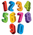 3d numbers set made with round shapes vector image