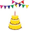 Birthday cake and garland vector image