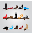 color boots on shelf eps10 vector image