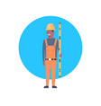 construction worker icon african american builder vector image