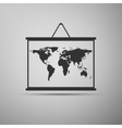 Drawing of map on blackboard icons vector image