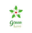 logo organic food green love slogan on white vector image