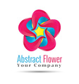 Yellow blue pink leafs logo design Four leafs vector image
