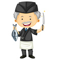 Male chef in black uniform vector image