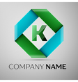 Letter K logo symbol in the colorful rhombus vector image