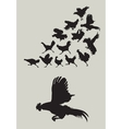 Rooster running silhouettes vector image
