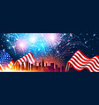 colorful fireworks for independence day of america vector image vector image