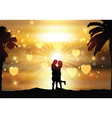 Romantic couple against a sunset sky vector image vector image