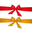 red and gold bow on white background vector image vector image