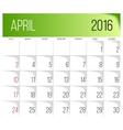 April 2016 planning calendar vector image