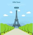 cartoon eiffel tower famous landmark of paris card vector image