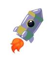 Cartoon rocket in open cosmos vector image