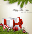 Christmas background with gift boxes vector image
