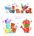cozy collection of spring bouquets and gardening vector image