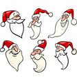 funny santa claus cartoon faces icons set vector image